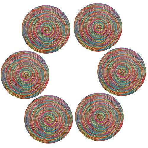 U'Artlines Lot de 6 Set de Table Rond Lavable Résistantes à la Chaleur Antidérapant 38x38cm(Rond,coloré-Bleu)