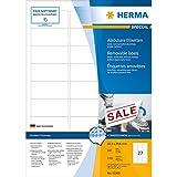Herma 10300 Etiketten (A4 Movables/ablösbar Papier matt, 63,5 x 29,6 mm) 2700 Stück weiß