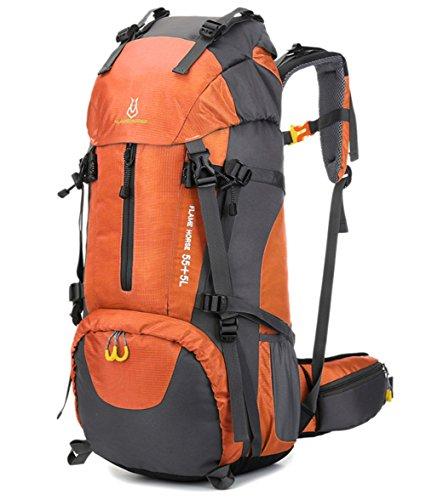 Camping Rucksack Intern Rahmen 65L für Wandern Mountaineer Outdoor Sport Wasserbeständigkeit Tagesrucksack Reisen Racksuck Orange