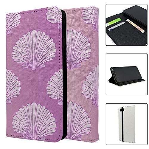 Pink Scallop Seashell Muster Full Flip Case Schutzhülle für für Apple iPhone 8–S363 (Pink Scallop)
