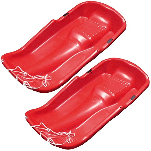 Pack de 2niños de plástico nieve trineo con cuerda pull–rojo