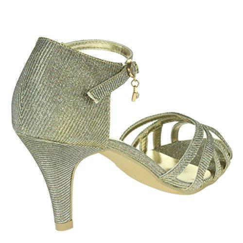 Femmes Dames Soir Mariage Fête Bal de promo De mariée Sparkly Sangle de cheville Milieu Talon Des sandales chaussures Taille Étain
