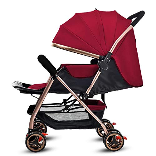 ATV All-Terrain Stroller Four-Wheeled Portable Ultralight Foldable Car SUV-Absorbing Baby Impact,Red (Atv Kinderwagen)