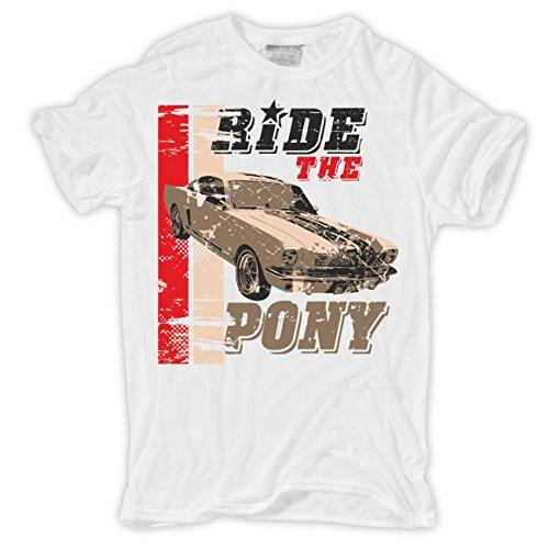 Männer und Herren T-Shirt Ride the Pony (mit Rückendruck) Körperbetont weiß