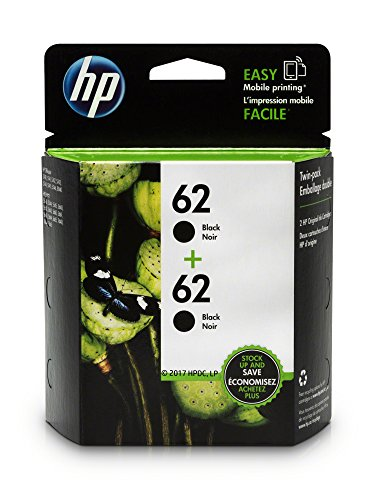 HP 62 Black Original Ink Cartridges, 2 pack (T0A52AN)