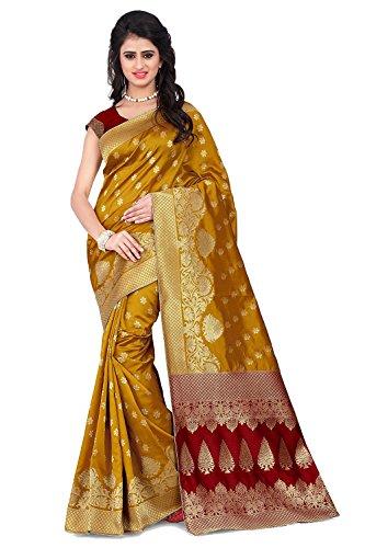 Wilori Classy Light Yellow & Maroon Banarasi Silk Kanjivaram Work Ideal Saree