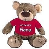 Stofftier Teddy Bär mit T-Shirt pink Geschenk mit Namen personalisiert 27cm