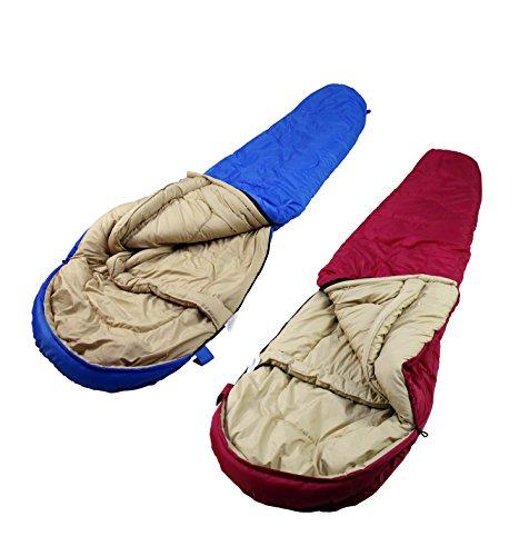 Unibest Mumienschlafsack mit Kopfteil NS80 2er Pack koppelbar - pink links+blau rechts -