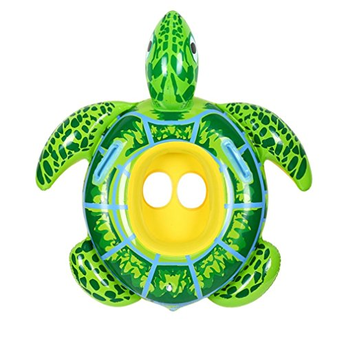 Vovotrade ufblasbarer Schildkröten,Inflatable Pool Float Pool Floß Schildkröten für die Poolparty für Den Sommer Freien Strand Pool Aufblasbare Schildkröte Kinder Schwimmring Sitz (Grün 1, 53cm)