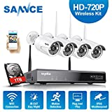 SANNCE 4CH HD NVR Wireless Security Camera System with 4x 1.0MP CCTV IP Cameras Built-in WIFI Module, Night vision, Motion Detection, One 1TB Surveillance HDD