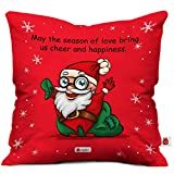 Indigifts Micro Satin Cheerful Santa Print Cushion Cover with Filler as Xmas Gift (Red, 12x12 inches)