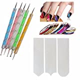 #8: FOK Nail Art Combo 5pc Nail Art Pen Set,10 pc Stripping Roll Tape And A French Manicure Nail Art Tip Sticker