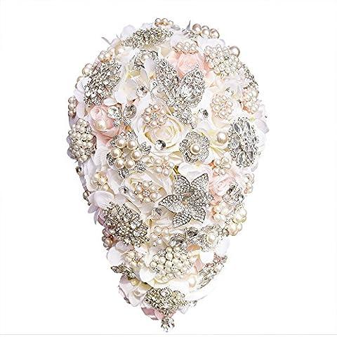Bouquet de mariage pour les brides de mariage romantique Rose tenant Fleurs Perles fait à la main