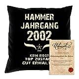 Soreso Design Geburtstagskissen zum 16. Geburtstag & Urkunde : Hammer Jahrgang 2002 : Geschenkidee Geburtstagsgeschenk Kissen 40 x 40 Bezug Füllung Farbe: schwarz