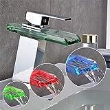 Axyf Raccordo a cascata in vetro a led, raccordo per lavabo, rubinetto per lavabo a cascata, miscelatore in rame