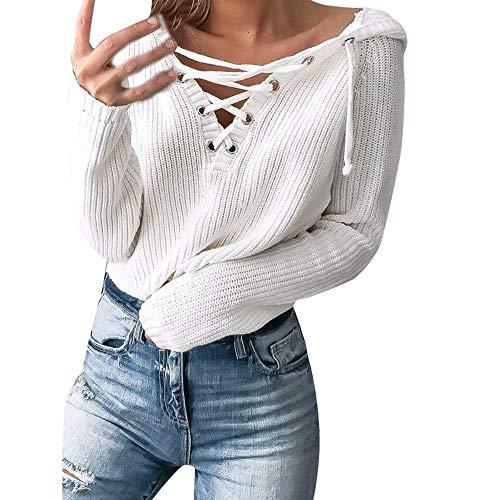 Damen Klobige Gestrickte Bluse Huihong Frauen Herbst Winter Baggy Schnürung übergroßen Kapuzenpullover Tops Shirt (Weiß, M/EU Size:36) -