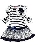 Kleinkind-Mädchen-Prinzessin Dress-Langarm-Kleid-Baby-Rock Stripped (140 ( 5-6 Jahre), blau2)