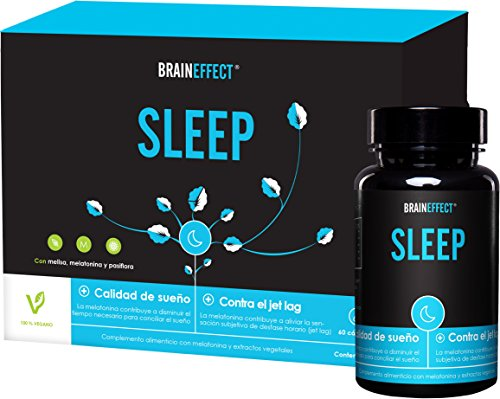 BRAINEFFECT SLEEP | 1mg Melatonina por porción | 60 cápsulas | Ayuda natural para dormir | Con pasíflora y melisa | Vegano | Hecho en Alemania