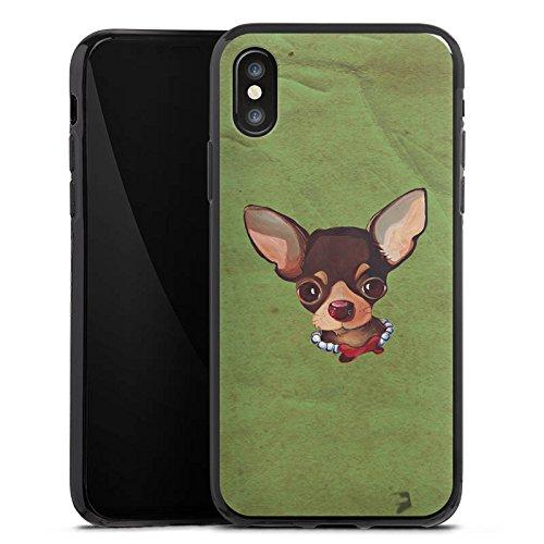 Apple iPhone X Silikon Hülle Case Schutzhülle Chihuahua Hund Dog Silikon Case schwarz