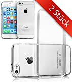 2 STÜCK iPhone 5 5S Hülle TPU Case Schutzhülle Set - NEUES MATERIAL | PERFEKTE PASSFORM | 2x Silikon Crystal Case Transparent Durchsichtig für Apple i-Phone-5 iPhone 5 - Movoja®