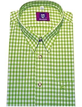 Trachten Hemd Freizeit Wanderhemd apfel grün weiß kariert Orbis 0069 bequemer Schnitt M bis 6XL