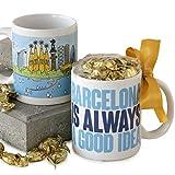 Mopec Taza de Porcelana Barcelona is Always a Good Idea Adornada con Caramelos de Fruta en Caja de Regalo, Pack de 1 Unidad, Azul, 8.20x8.20x9.50 cm