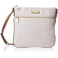 Michael Kors Bedford Signature Flat Cross-Body Bag for Women - Vanilla