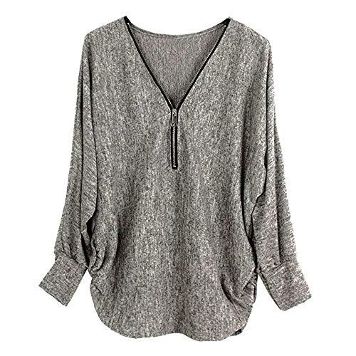 BHYDRY Frauen Langarm Knopf Bluse Pullover Tops Mit Taschen(EU-44/CN-XL,Z-J-Grau)