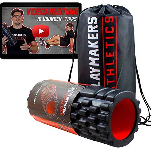 Playmakers Faszienrolle mit Videoanleitung für Faszientraining von Beine und Rücken   Foam Roller Massagerolle   Selbstmassage Übungen für Muskeln und Training   Faszien Massagerolle