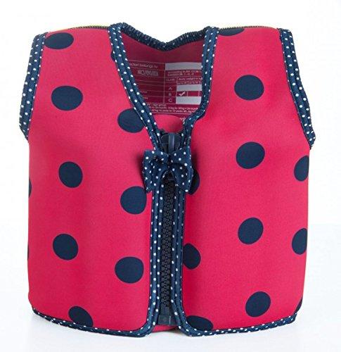 *Kinder-Schwimmweste 2J-BPP-881 aus Neopren, Blaue Punkte auf Pink, Größe: 12-16 kg (2-3 Jahre), Brustumfang 56 cm*