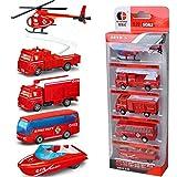 DAN DISCOUNTS Spielzeug Fahrzeuge, 5 Pack Assorted Modellautos Mini Trucks Set für Jungen Kinder- Feuerwehrauto-Serie