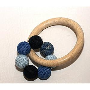 Greifling Baby blau handgemacht Bio Baumwolle Holz unbehandelt made in Germany hergestellt in Deutschland Rassel Glöckchen