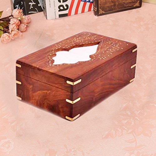 Cubierta de la caja de tejido de madera / titular de tejido - Dispensador de papel de seda - 10 X 6 pulgadas, trabajo de incrustación de diseño de la hoja, día de Pascua / Día de la madre / regalo de Viernes Santo