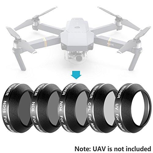 Neewer Kit di 5 Filtri Multi-rivestiti per DJI Mavic Pro Drone Quadricottero, Inclusi: Filtri UV/CPL/ND4/ND8/ND16, in Vetro a Definizione Ultra Alta e Telaio Filettato in Alluminio
