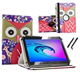 Case Cover für Alcatel One Touch Pixi 3 Tablet Schutzhülle Etui mit Touch Pen & Standfunktion - 10.1 Zoll Reh Eulen 360