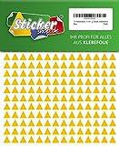 714 Aufkleber, Dreieck, Sticker, 10 mm, gelb, PVC, Folie, Vinyl, glänzend, Klebemarkierung, selbstklebend