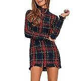 Damen Elegant Kleid Stehkragen Langarm Minikleid Mode Reizvoller Plaid Enges Kleid Ballkleid Kurz Abendkleider Partykleid