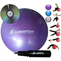 inSPORTline GYMNASTIC EXCERCISE FITNESS AEROBICS RELAX BALL with PUMP & VIDEO VIOLET 75CM