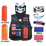Chaleco Táctico Kit para Pistolas Nerf Serie Elite Strike, Incluso Kids Elite Chaleco+40PCS Dardos +Protección Gafas+2PCS Cargadores de Balas para 12 Dardos+Pulsera de Balas+Pañuelo