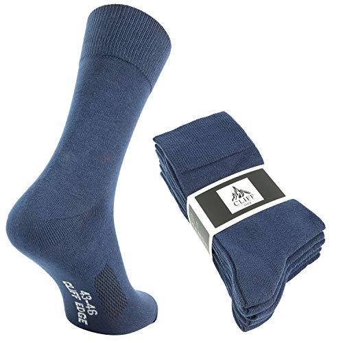 Cliff Edge 5 Paar hochwertige Premium Herren-Damen-Socken | atmungsaktive Socken aus gekämmter Baumwolle (43-46, Navy Blue - 5 Paar)