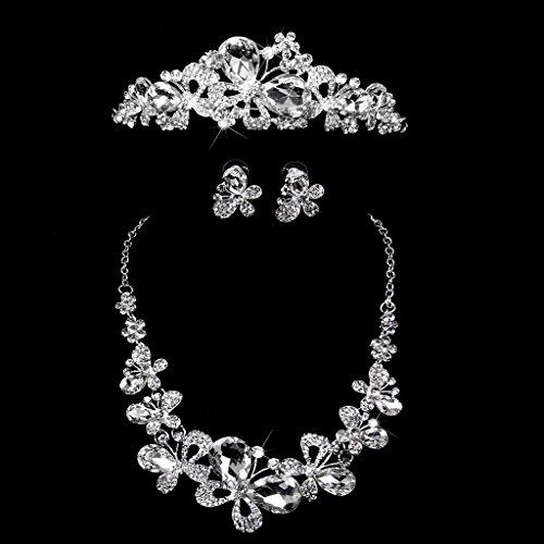 Nupcial Diadema Corona Tiara mariposa Vestido Decor Boda Fiesta Prom Cristal