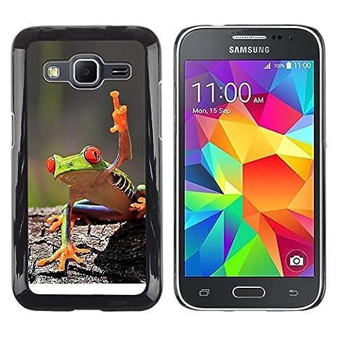 GooooStore/ Housse Etui Cas Coque - You Cool Frog Green Jungle Creature - Samsung Galaxy Core Prime SM-G360
