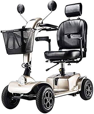 Folding Electric Mobility Scooter Lightweight Portable Wheelchair with Armrest Removable Baskets and Led Lights,Drive Medical Electric Scooter Battery 4 Wheels 350w 8 Mph,Champagne