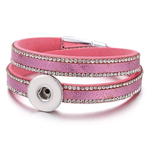 XIANNU Damen Armband,Schaltfläche Schmuck Armband 18mm Leder Snap Armband Wrap Multilayer böhmischen Leopard Leder Armband Rosa Silber Leopard Snap