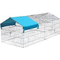 KCT Large Apex Enclosed Roof Metal Pet Playpen Run for Dogs, Cats, Rabbits, Chickens and More