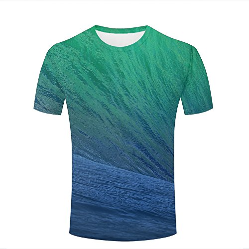 qianyishop Herren 3D Printed Casual T-Shirts Blue-Green Gradient Gully Graphic Crewneck Short Sleeve Couple Tees XXL