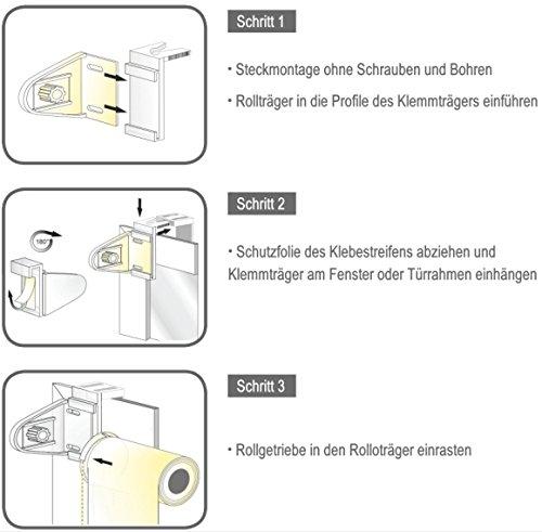 Sol Royal SolDecor DL2 Doppelrollo Klemmfix ohne Bohren 60x150cm (BxL) Dunkel-Braun Duo-Fenster-Rollo mit Klemmträger - 6