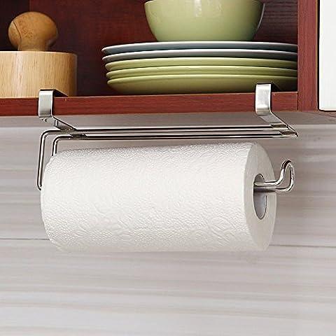 Unter Schrank Edelstahl Papier Handtuchhalter Rolle Reserve Papier über Tür Aufhängen Unterstützung, Haken Regal Organizer für Papier Rolle–Silber, 26x 9x 6,5cm