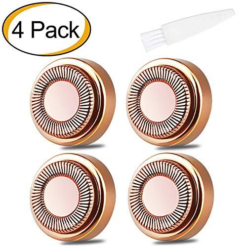 4 Pack Gesichtshaarentferner Ersatzköpfe für Touch Flawless Elektrorasierer für Lippen, Kinn, Wangen und Sideburns, wie im Fernsehen gesehen 18K vergoldete Klingen -