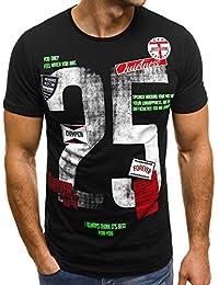OZONEE Camiseta Hombre con Estampado Cuello Redondo Manga Corta Ceñido Breezy 372